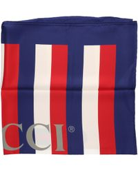 Gucci - Red, White And Blue Sylvie Stripe Silk Scarf - Lyst