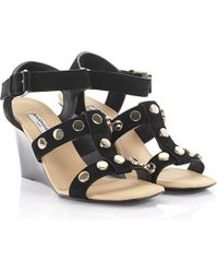 47ef6727caa Balenciaga - Strappy Studded Leather Sandals - Lyst