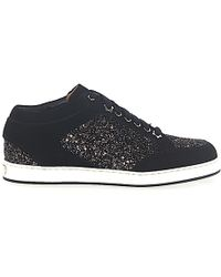 cac3bfeb61a3 Jimmy Choo - Lace Up Shoes Miami Suede Textile Glitter Logo Black Bronze -  Lyst