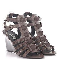 Balenciaga - Wedge Sandals Wadh0 Leather Grey Designer-studs Grey - Lyst