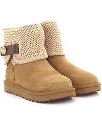 4f360d13a52 UGG Boots Shaina Suede Grey Knit Grey Lamb Fur in Gray - Lyst