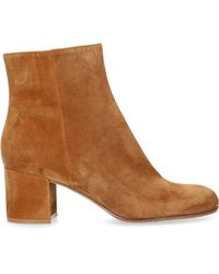 Gianvito Rossi - Ankle Boots Margaux Mid Bootie Suede Beige - Lyst
