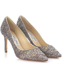 Jimmy Choo - Court Shoes Romy 85 Leather Gold Silver Lace - Lyst
