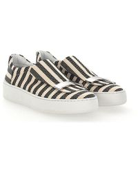 Sergio Rossi Slip-On Sneakers A79290 fabric beige striped squared silver-plated S790tnd0qj