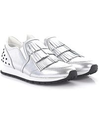 Tod's - Tods Trainer Slip On Sportivo Leather Silver Fringes Knobs - Lyst