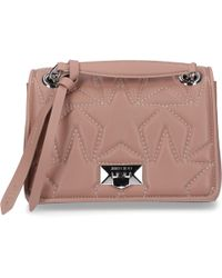 17690764c670 Jimmy Choo - Women Handbag Helia Nappa Leather Stars Embossment Logo  Knitting Dark Rosé - Lyst