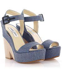 Jimmy Choo - Sandals Clogs Nico Plateau Bast Blue - Lyst