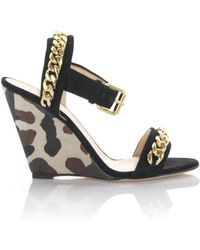 Giuseppe Zanotti - Wedge Sandals Coline With Ankle Strap Suede Black Canvas Camouflage - Lyst