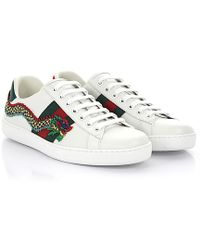 Gucci | Ace Sneakers A38g0 Leather White Detail Embroidery | Lyst