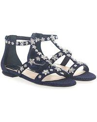 Dior - Sandalen Garland Denim Blau Schmuckverzierung - Lyst