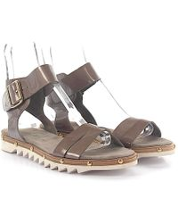 Agl Attilio Giusti Leombruni - Sandals D608074 Patent Leather Taupe - Lyst