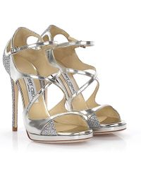 Jimmy Choo - Sandals Fancie Plateau Leather Silver Glitter Material - Lyst
