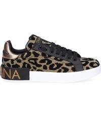 Dolce & Gabbana - Metallic Gold, Black And White Leopard Leather Trainers - Lyst