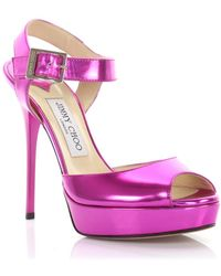 65364d98889aba Jimmy Choo - Sandals Linda Strap Plateau Patent Leather Pink - Lyst