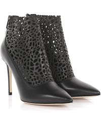 Jimmy Choo - Ankle Boots Maurice 100 Leather Black Design Perforated - Lyst