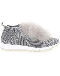 Jimmy Choo - Trainers Slip-on Norway Fur Nylon Logo Silver - Lyst