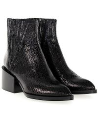 Giampaolo Viozzi - Ankle Boots Calfskin Embossing Black - Lyst