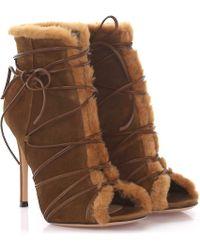 Gianvito Rossi - Boots Aspen Peeptoe Suede Brown Lamb Fur - Lyst