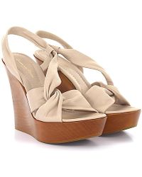 Gianvito Rossi - Sandals Calfskin Smooth Leather Wood Beige-combo Brown - Lyst