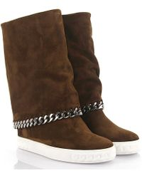 ba7e292cf51f Casadei - Boots Calfskin Suede Decorative Chain Brown - Lyst