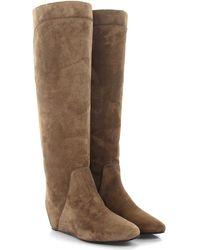 Lanvin - Boots Suede Stitching Beige - Lyst