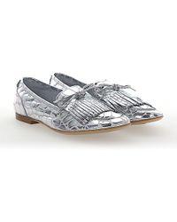 Agl Attilio Giusti Leombruni - Slipper D744009 Leather Metallic Silver Frays - Lyst