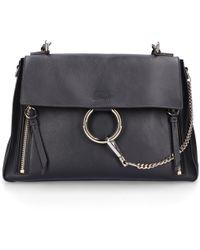Chloé - Handbag Faye M Leather Suede Logo Black - Lyst