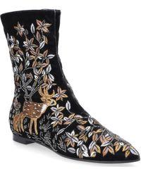 Alberta Ferretti - Ankle Boots 51a6204 Calfskin Flower Pattern Grey - Lyst