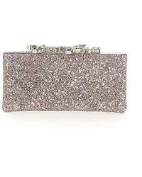 Jimmy Choo - Clutch Celeste Pink Logo Shutter Crystals Ornament - Lyst