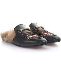 Gucci - Princetown Slippers With Angry Cat Appliqué - Lyst
