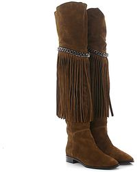 Casadei - Overknee Boots 1t835e Suede Brown Frays - Lyst