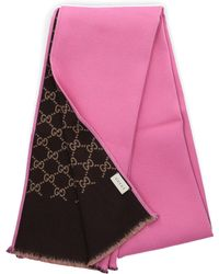 22d0ade71 Gucci - Women Scarf GG 3g744 Wool Logo Pink Beige Brown - Lyst
