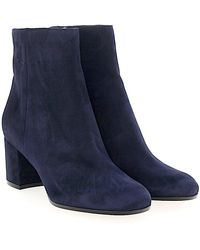 Gianvito Rossi - Ankle Boots Margaux Mid Bootie Calfskin Suede Blue - Lyst