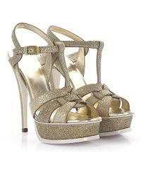 Saint Laurent | Sandals Tribute 105 Plateau Fabric Gold Glitter | Lyst