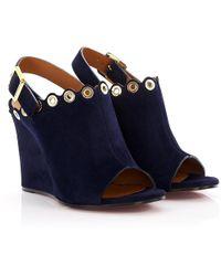 c0330bdf99e Chloé - Wedge Sandals Ch26082 Suede Dark Blue Metal Decoration - Lyst