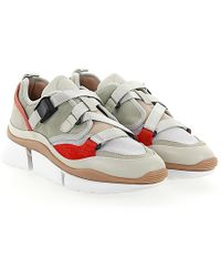 Chloé - Low-top Sneakers Sonnie Calfskin Cotton Blend Mesh Smooth Leather Suede Beige Grey Red - Lyst