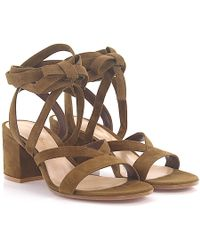 Gianvito Rossi - Sandals Janis Low Suede Brown - Lyst