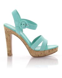 Gianvito Rossi - Sandals Gn3583 Plateau Straps Suede Turquoise - Lyst