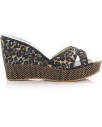 9f8817fdbd06 Jimmy Choo - Wedge Sandals Pandora Plateau Woven Bast Leopard Print - Lyst