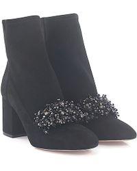 Elie Saab - Ankle Boots Calfskin Stretch Suede Gem Black - Lyst