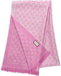 Gucci - Schal 3G200 Baumwolle Logo rosa - Lyst