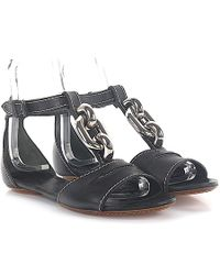 b7a9f64e8cb7b Balenciaga - Sandals Leather Black Decorative Chain Silver - Lyst
