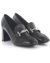 Tod's - Heeled Mocassins Leather Black - Lyst