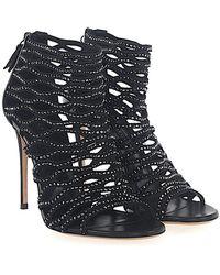 Casadei - Sandals 1l640 Stretch Black Nappa Leather Black Glitter - Lyst