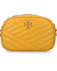 Tory Burch - Women Handbag Kira Chevron Leather Logo Embroidery Yellow - Lyst