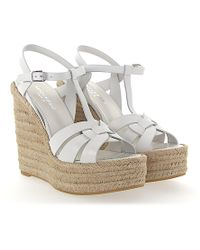 Saint Laurent - Wedge Sandals Bast Smooth Leather White - Lyst