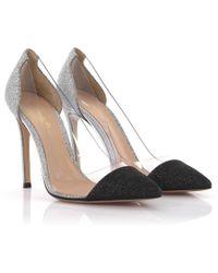 3728021a5ac3 Gianvito Rossi - Court Shoes Plexi Leather Black Silver Glitter Pvc - Lyst