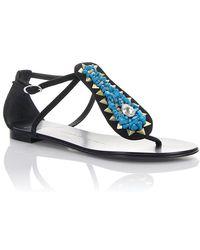 Giuseppe Zanotti - Sandals Rock 10 Suede Ankle Strap Black - Lyst
