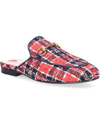 Slip On Shoes PRINCETOWN Tweed Horsebit-Detail blue red white Gucci PL0pGt