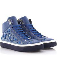 Jimmy Choo - Trainers High Argyle Saffiano Leather Blue Denim Blue Stars Ornament - Lyst